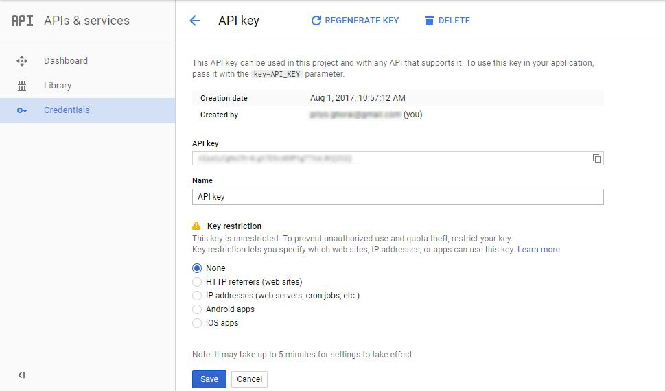 Create API Key for Google URL shortener