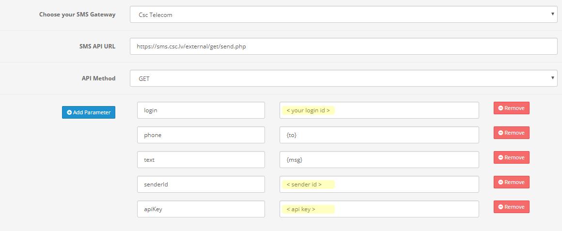 csc telecom api settings for huntbee opencart