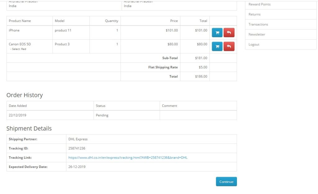 Default Template view on customer order info page if all items of the order is shipped as single consignment or shipment