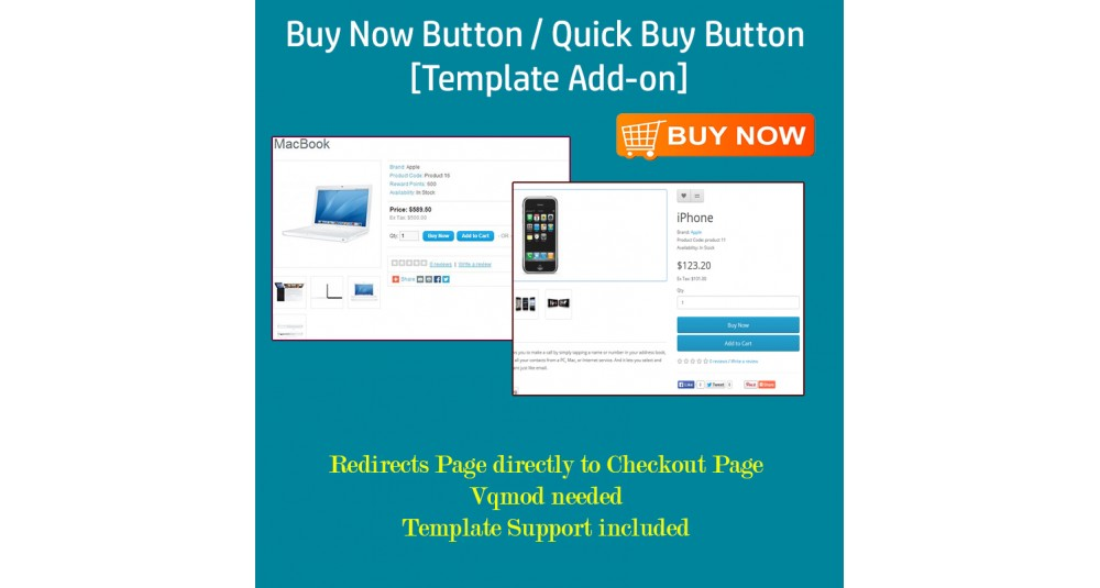Image showing extension Buy Now Button / Quick Buy Button - [Template Add-on] for opencart