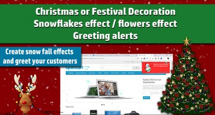 Christmas Decoration Module / Snowflakes effect / Greetings Alert image for opencart