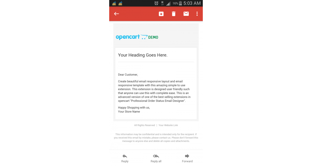 Image showing extension Google Responsive Email Template Style for opencart