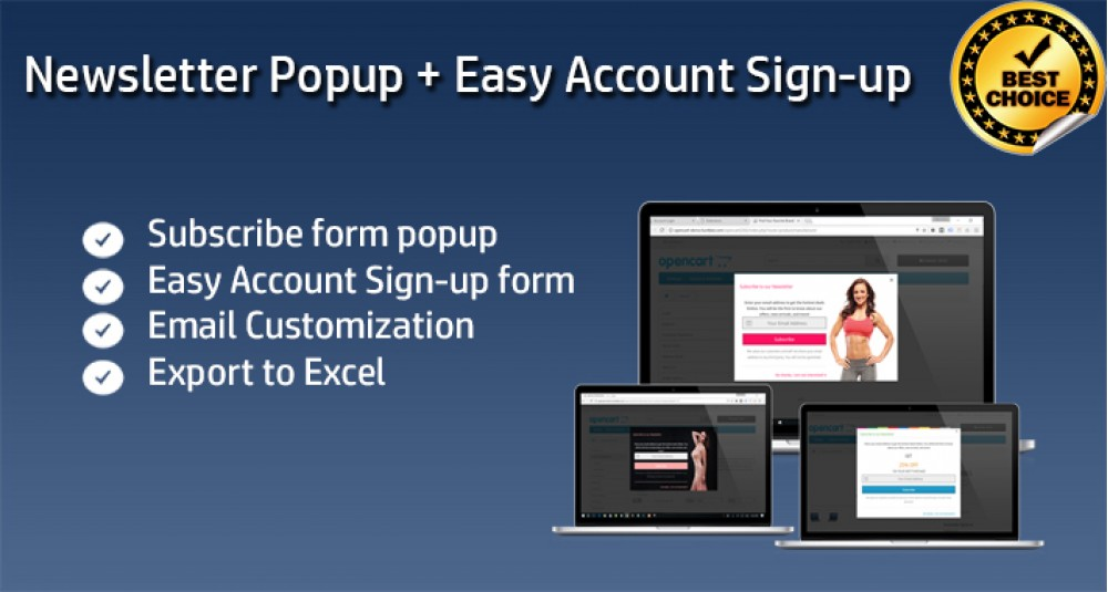 Image showing extension Multi-purpose Popup/block - Newsletter Subscribe - Easy Account Signup - Login Popup for opencart