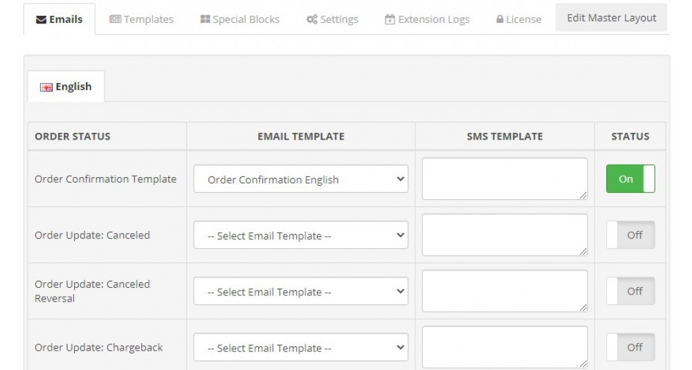 Email de status do pedido / profissional Designer de modelo de SMS Extensões e Módulos, Extensões OpenCart, Extensões Premium, Aumentar a produtividade, Extensões de Email image