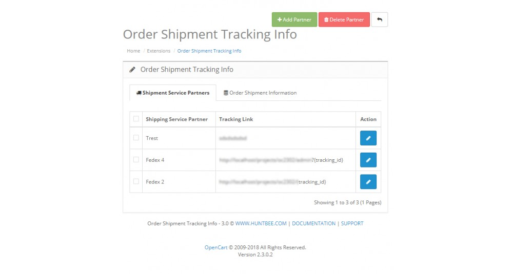Image showing extension Order Shipment / Courier Tracking Info for opencart
