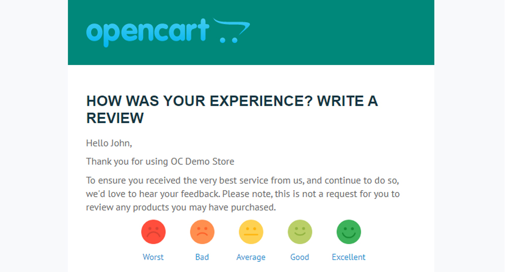 Post Purchase Product Review Request Automated Email image for opencart