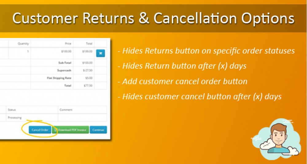 Image showing extension Customer Returns and Cancellation Options for opencart