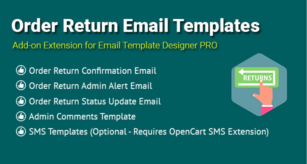 Image showing extension Order Return Email Templates for opencart