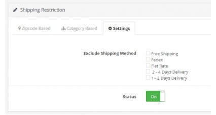 Shipping Method Restrictions based on Pincode or Category image for opencart
