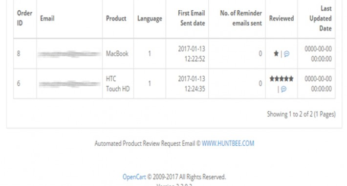 Product Review Request Automated Email image for opencart