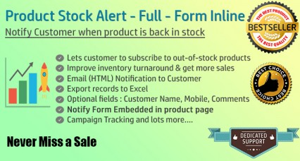 Image showing extension Product Stock Notification Alert - Full - Form Inline for opencart