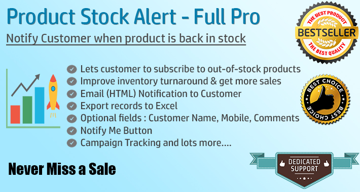 Image showing extension Product Stock Notification Alert - Full Pro for opencart