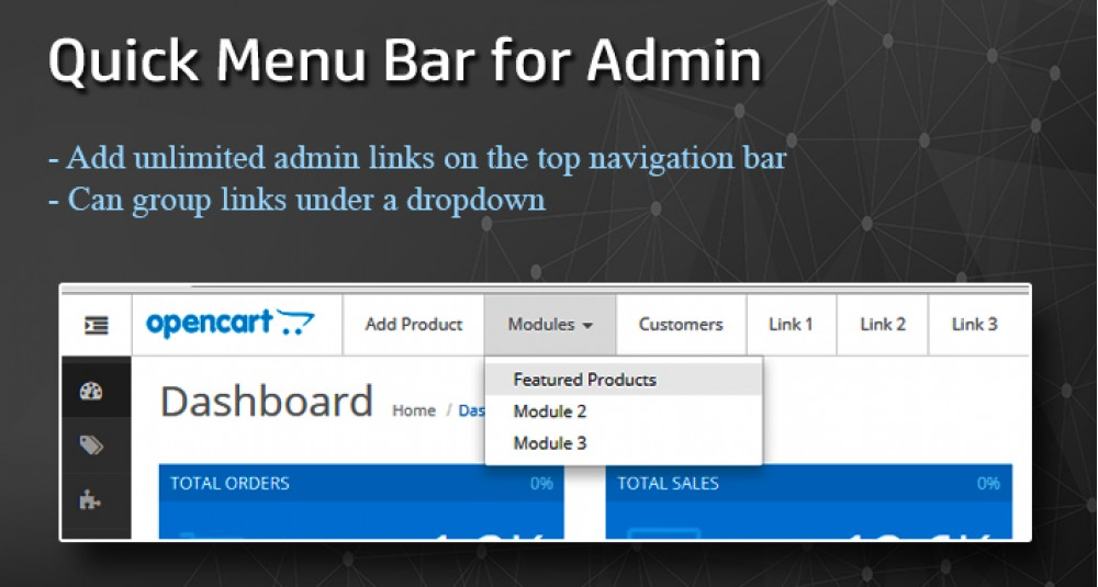 Image showing extension Quick Menu bar for OpenCart Admin Page [23xx] for opencart