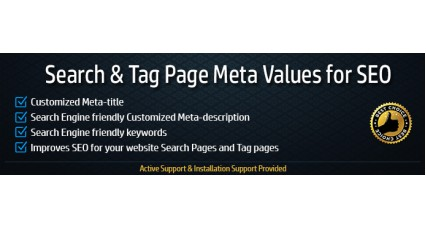 Image showing extension Search and Tag Pages SEO Meta-values for opencart