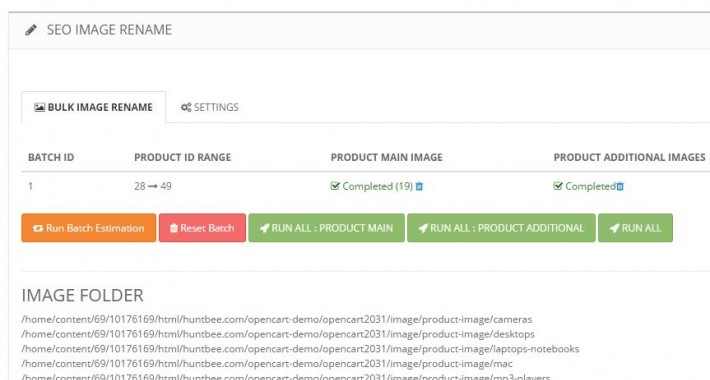 Image showing extension SEO Product Image Rename Manager / Image Organizer for opencart