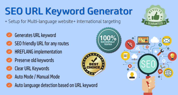 Image showing extension SEO URL Keyword Generator / SEO Friendly URL for opencart