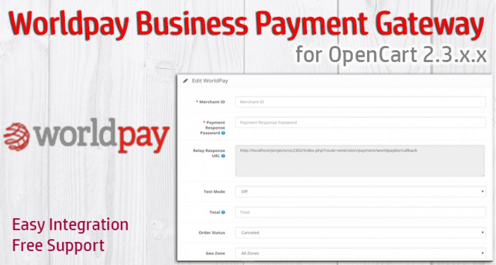 Worldpay Business Payment Gateway for OpenCart 3xxx image for opencart