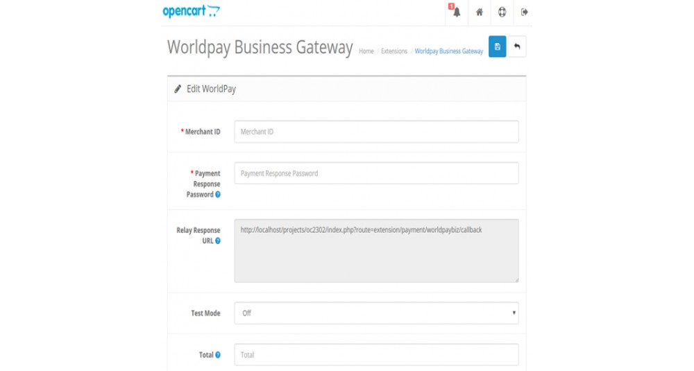 Image showing extension Worldpay Business Payment Gateway for OpenCart 2.3.x.x for opencart