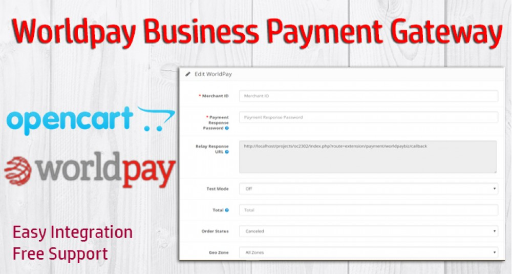 Image showing extension Worldpay Business Payment Gateway for OpenCart 3xxx for opencart