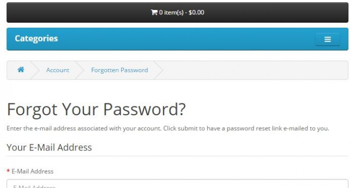 Fix for password reset for OpenCart 2.2.0.0 image for opencart