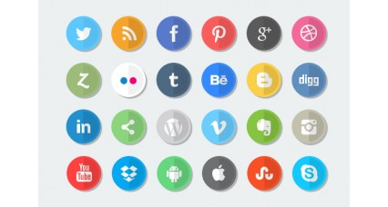 Social Icons - Flat icons, rounded icons, Leaf Shaped icons