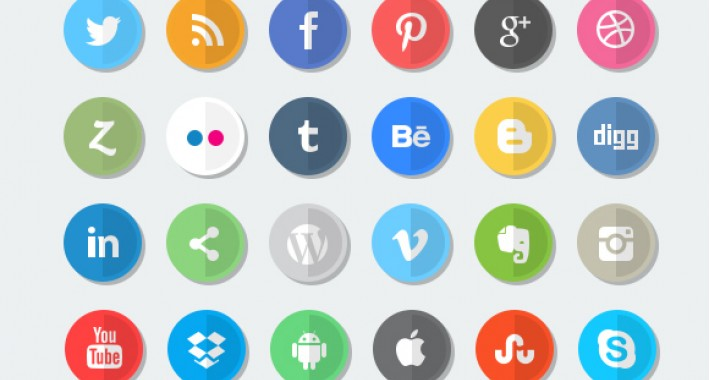 Image showing extension Social Icons - Flat icons, rounded icons, Leaf Shaped icons for opencart