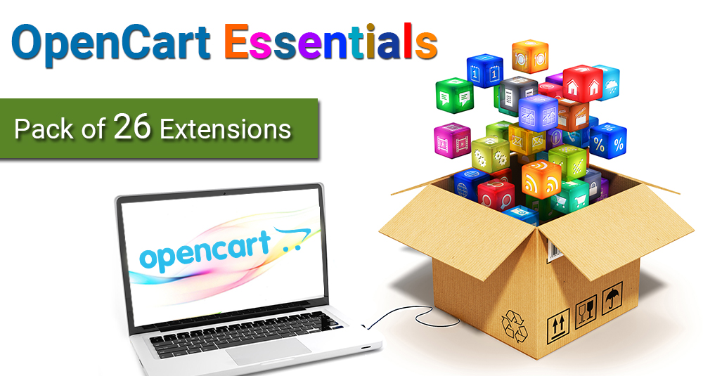 Image showing extension OpenCart Essentials - Pack of 26 Extensions for opencart
