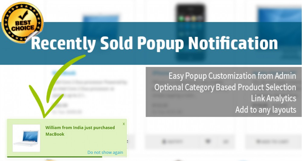 Recently Purchased Popup Alert [2000- 2200] image for opencart