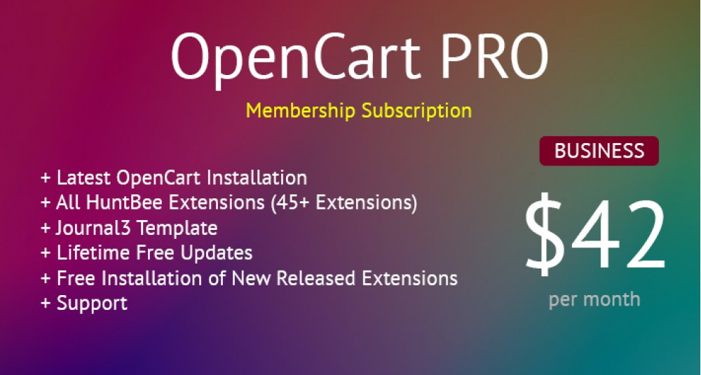 OpenCart PRO - Business Membership - All OpenCart Extensions for Lifetime & Support image