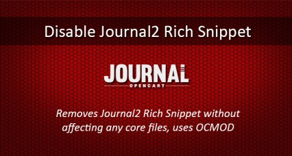 Disable Journal2 Structured Data Snippets for Opencart 3.0.0.0 and higher
